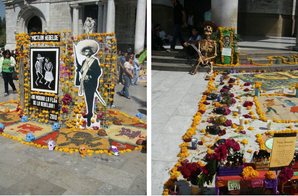 Dekos auf der Straße mit Blütenbildern und Skeletten.