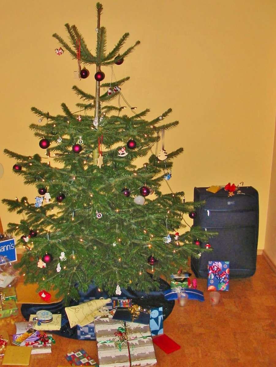 geschmückter Weihnachtsbaum mit Geschenken darunter