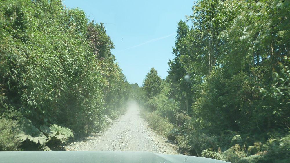 Staubige Strecke auf der Carretera Austral zwischen Chaiten und Coyhaique.