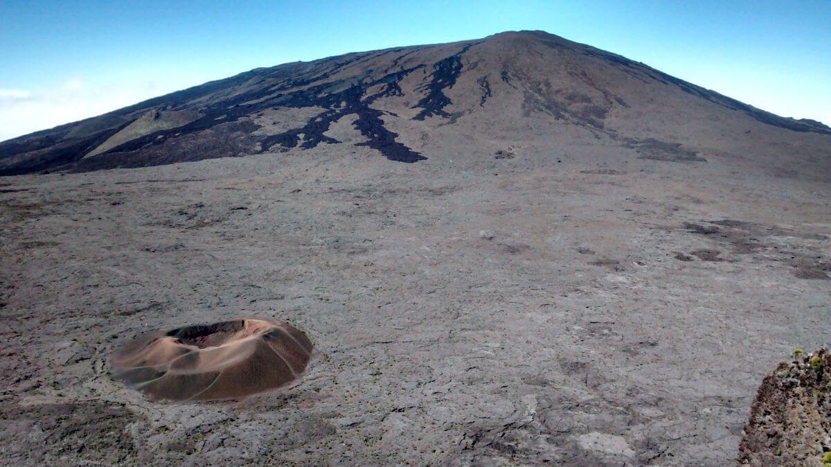 Blick auf den Vulkan Piton de la Fournaise.