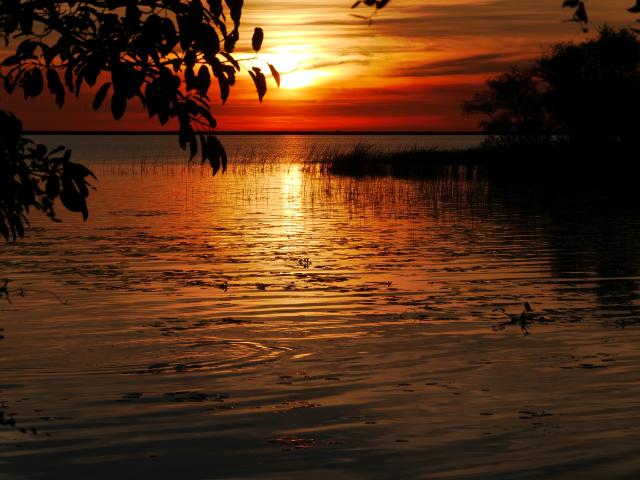 Wie Fototapete, nur echt: Sonnenuntergang über der Lagune