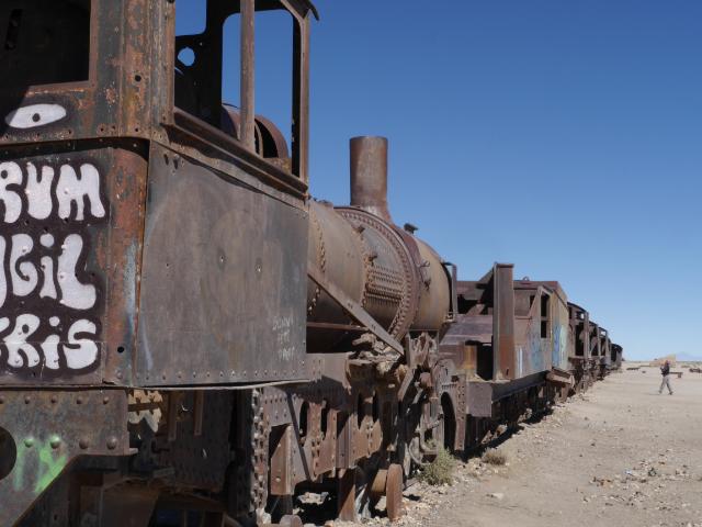 Cementerio de los trenes - Friedhof der Züge in Uyuni