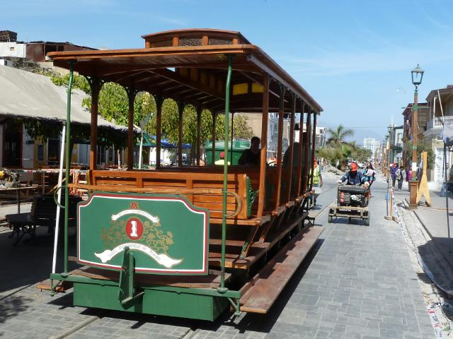 Liebevoll restaurierter Straßenbahnwagen