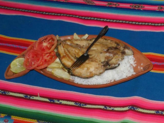 Teller mit Fisch und Reis.