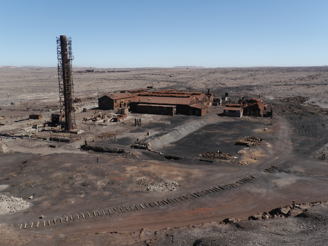Blick von oben auf das Minengelände.