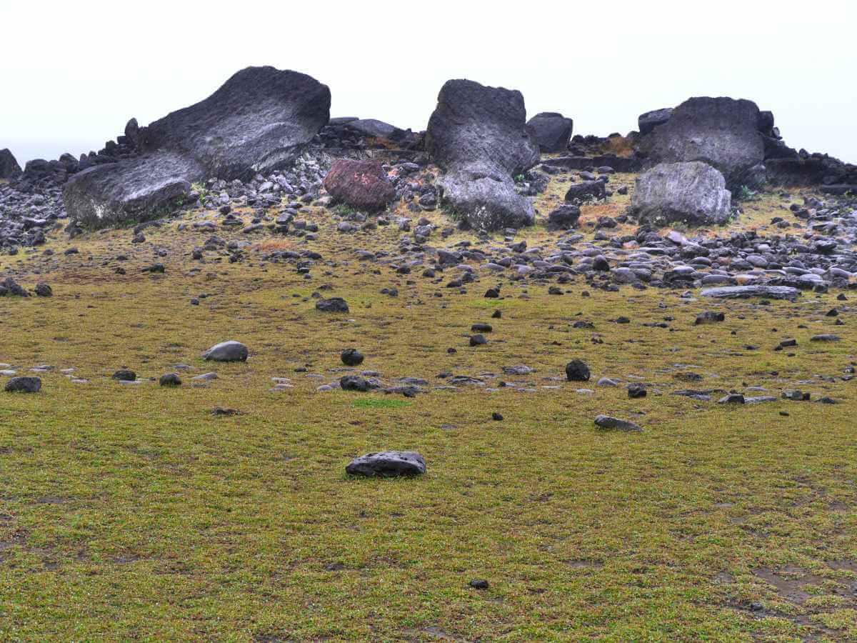 Drei umgestürzte Moai.