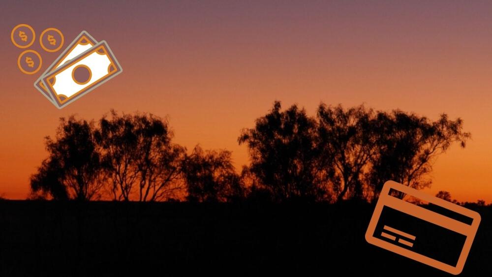 Sonnenuntergang im Outback in Australien.