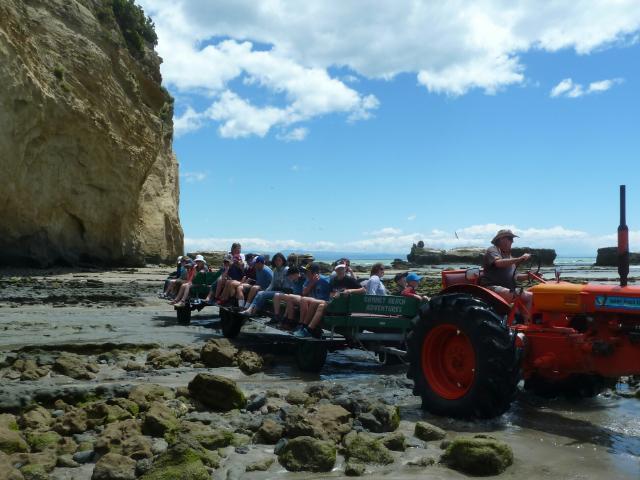 Traktor mit Anhängern, auf denen Touristen sitzen.