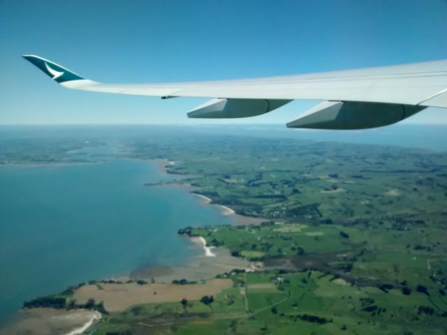 Viel Grün, auf beiden Seiten Wasser - Neuseeland von oben
