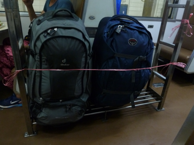 Gepäck im Zug nach Chiang Mai