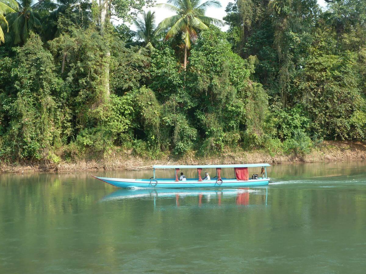 Türkises Langboot fährt über den Mekong