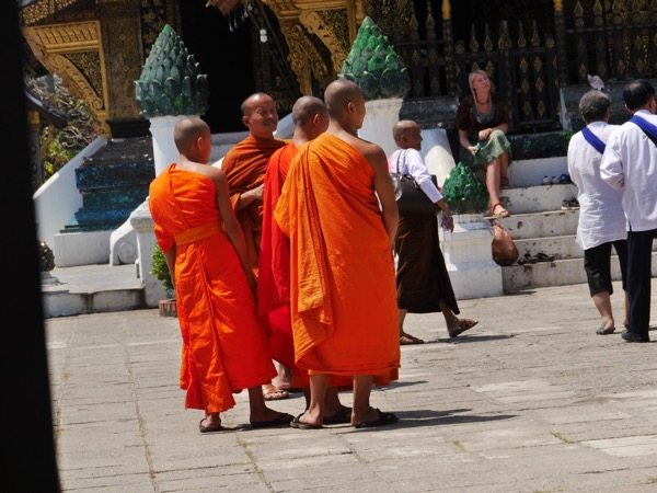 Gruppe von orange gekleideten Mönchen auf der Straße.