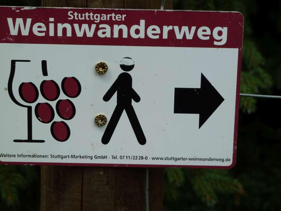 Beschilderung Weinwanderweg Stuttgart.
