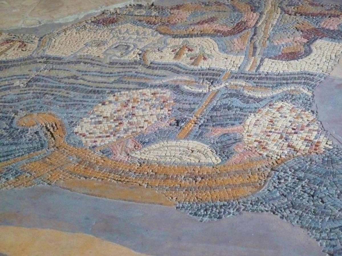 Mosaikbild Schiff auf Totem Meer