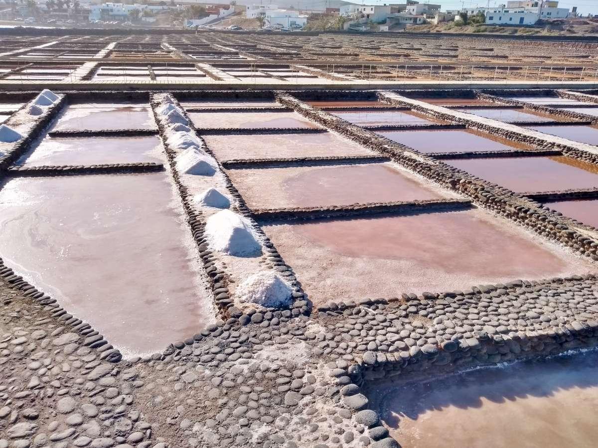 Quadratische Becken, dazwischen kleine Haufen aus Salz