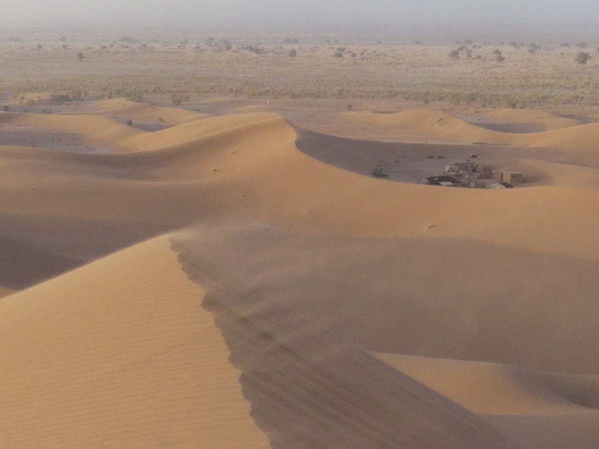 Sand weht über den Dünenkamm