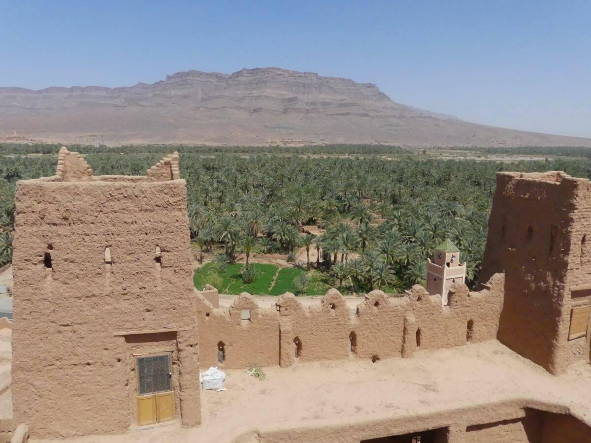 Vorne Mauerzinnen der Kasbah, dahinter weite Palmengärten.