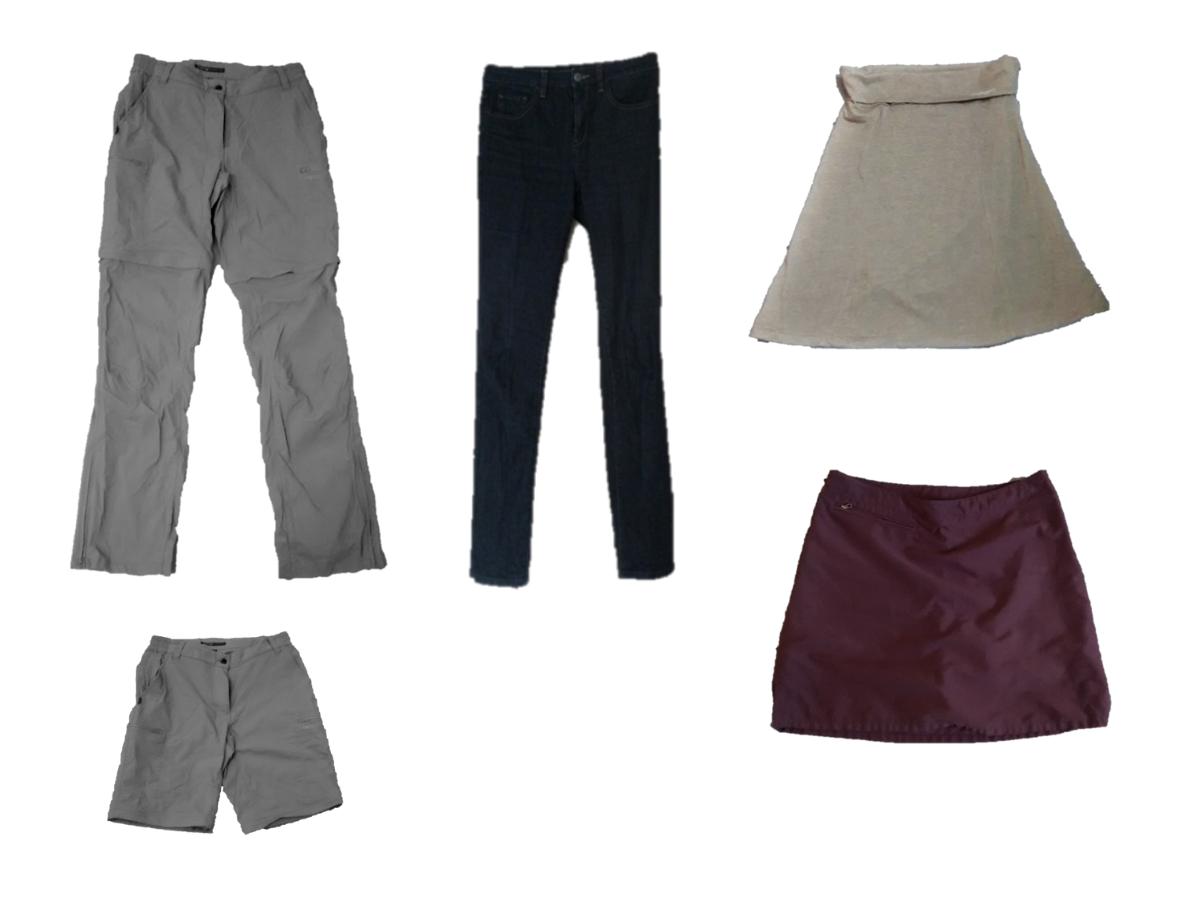 Trekkinghose, Jeans, zwei Röcke