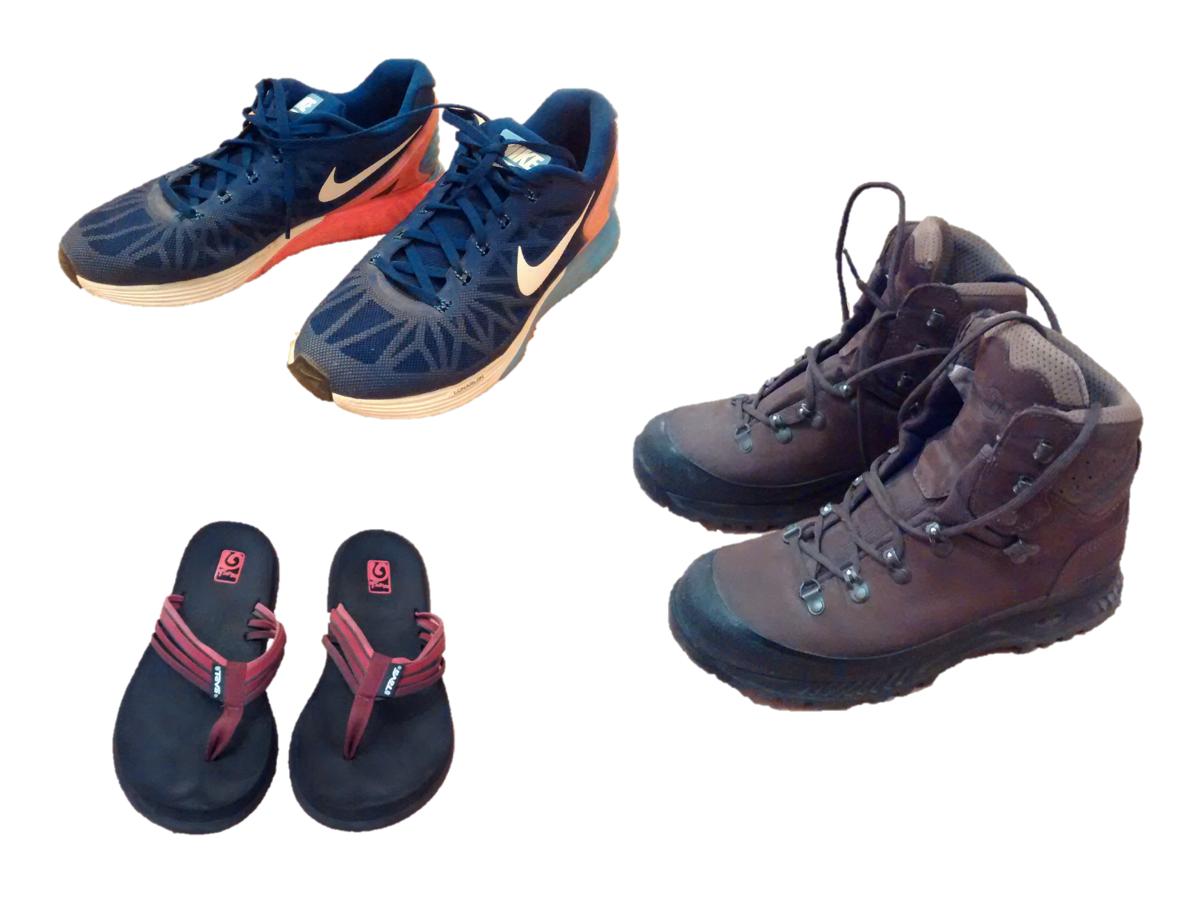 Wanderstiefel, Sneaker und Flipflops