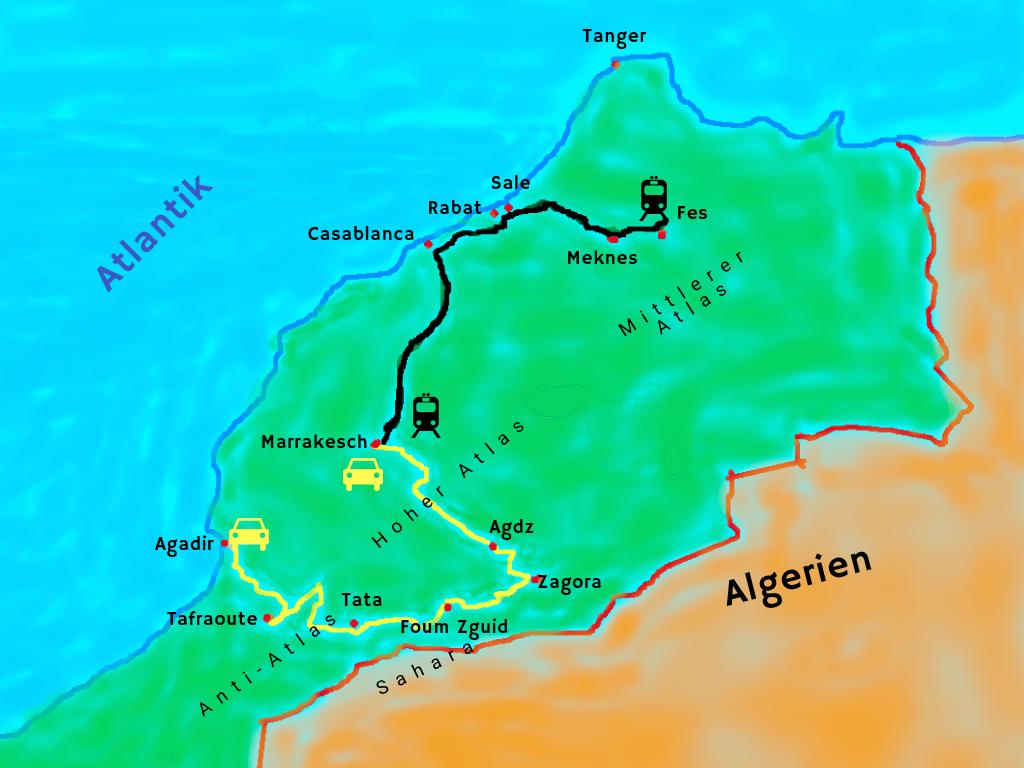 Karte unseres Roadtrips in Marokko