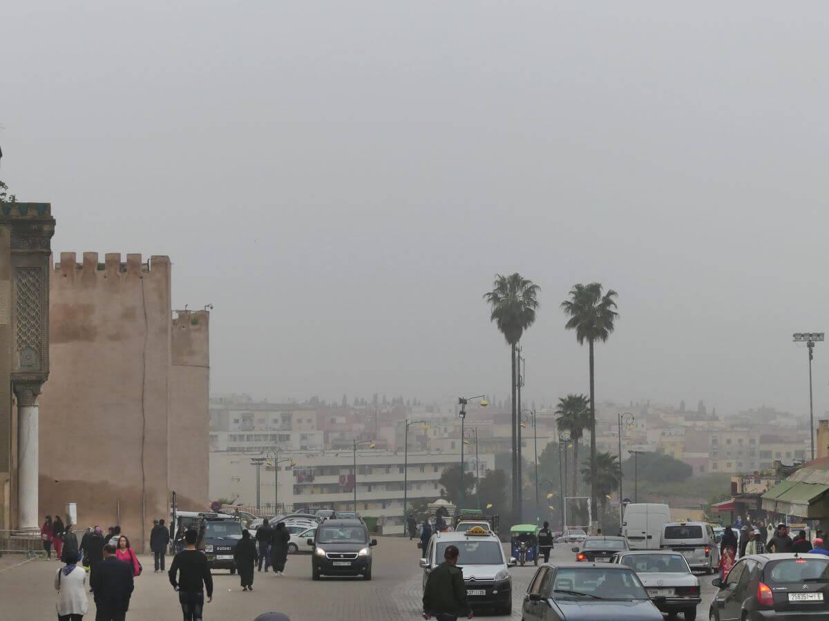 Stadtmauer von Meknes und Palmen im Nebel