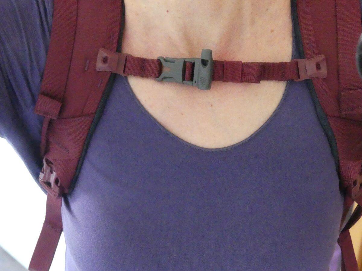 Detailaufnahme vom Brustgurt, der kurz unter dem Hals sitzt.