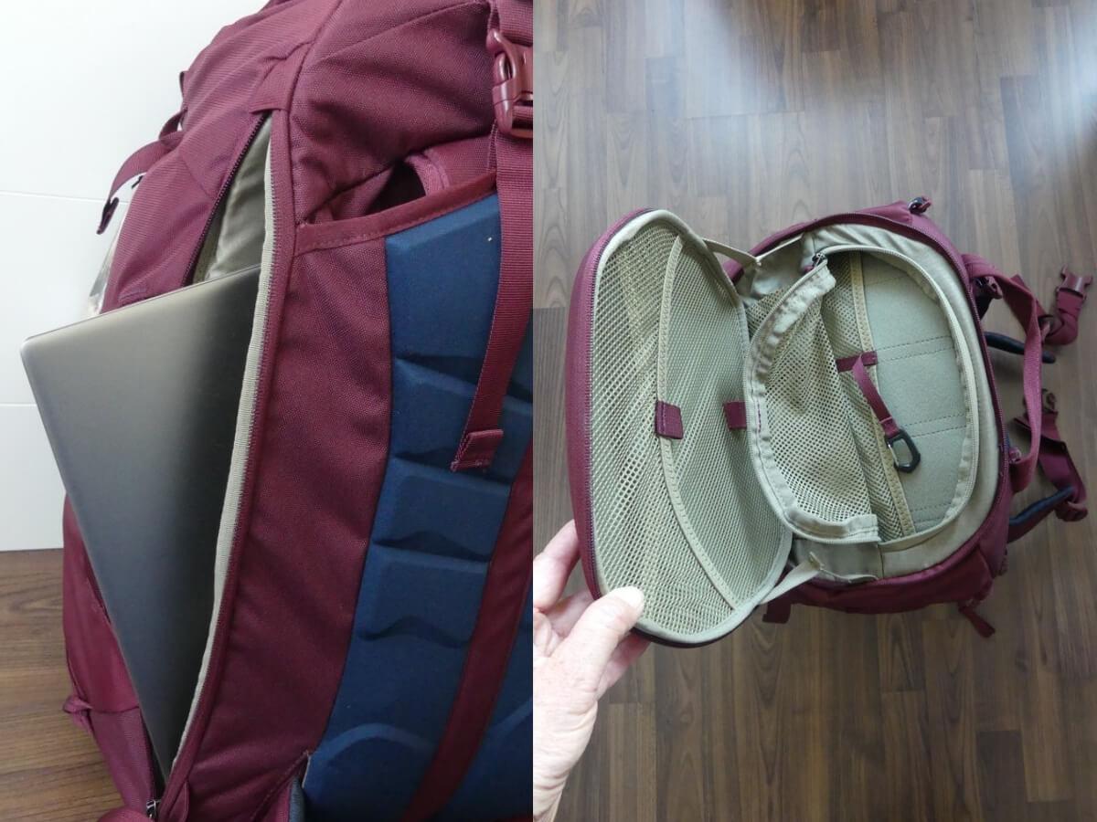 Laptop ragt aus Fach, daneben Blick in geöffnetes Deckelfach vom Thule Handgepäck-Rucksack.