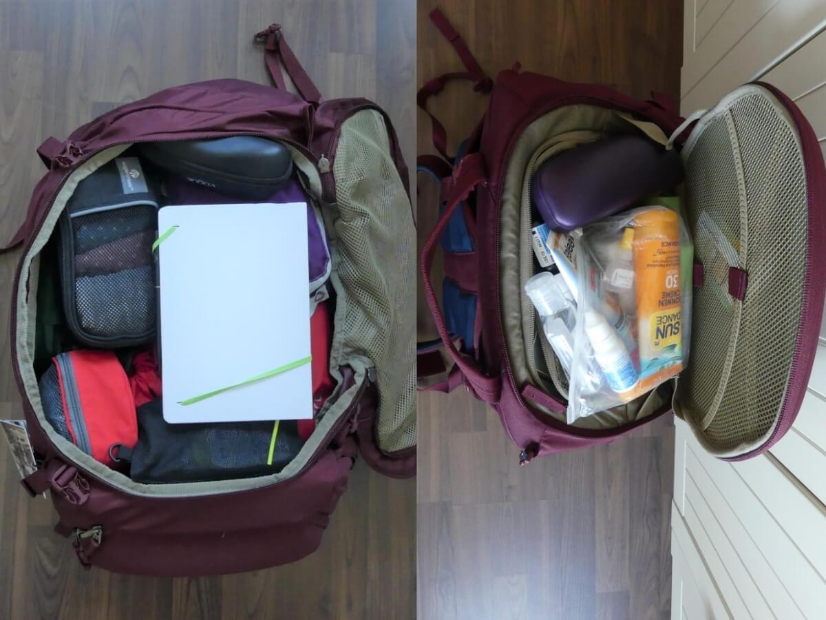 gepackter Rucksack mit offenem Deckel.