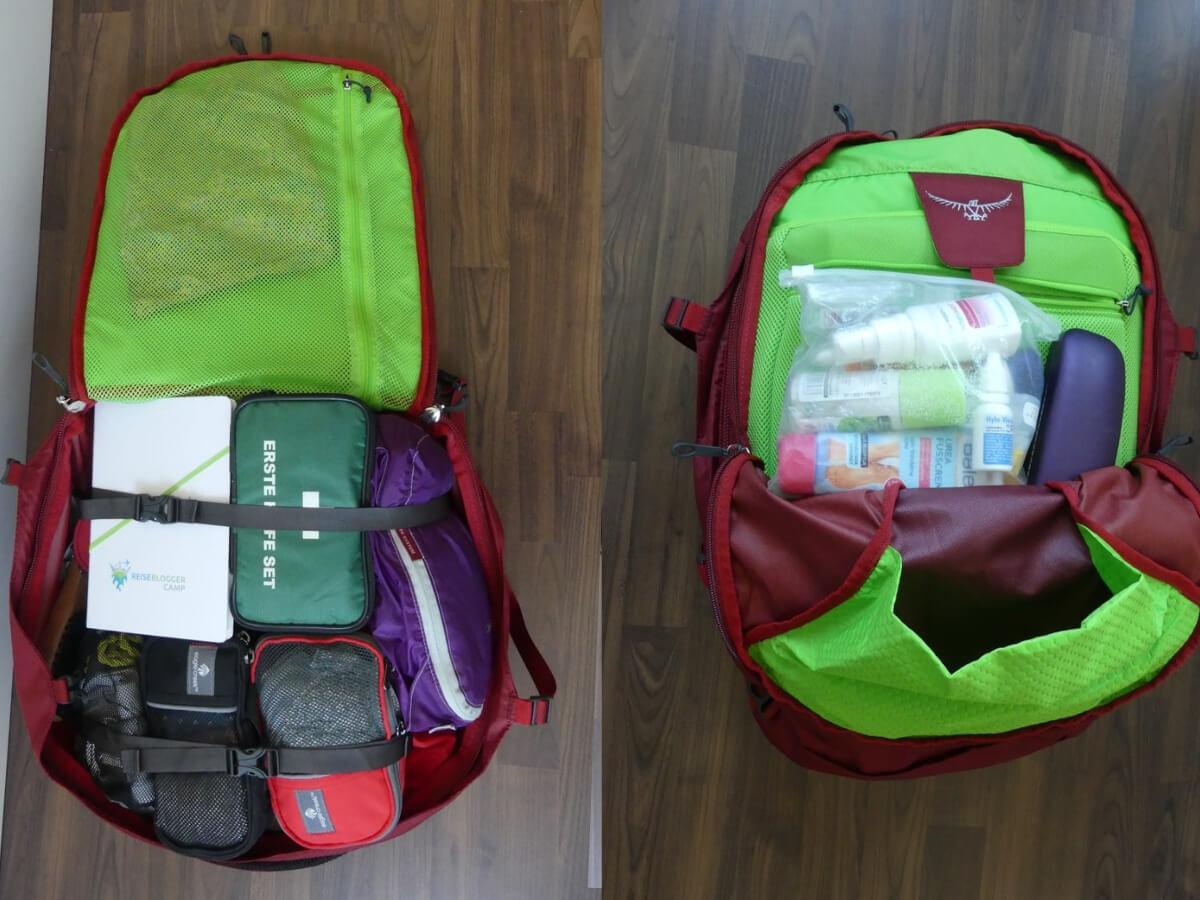Blick in den gepackten Rucksack.