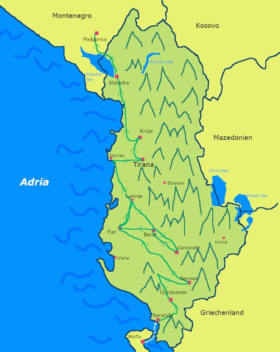 Karte von Albanien mit der Route unserer Rundreise.
