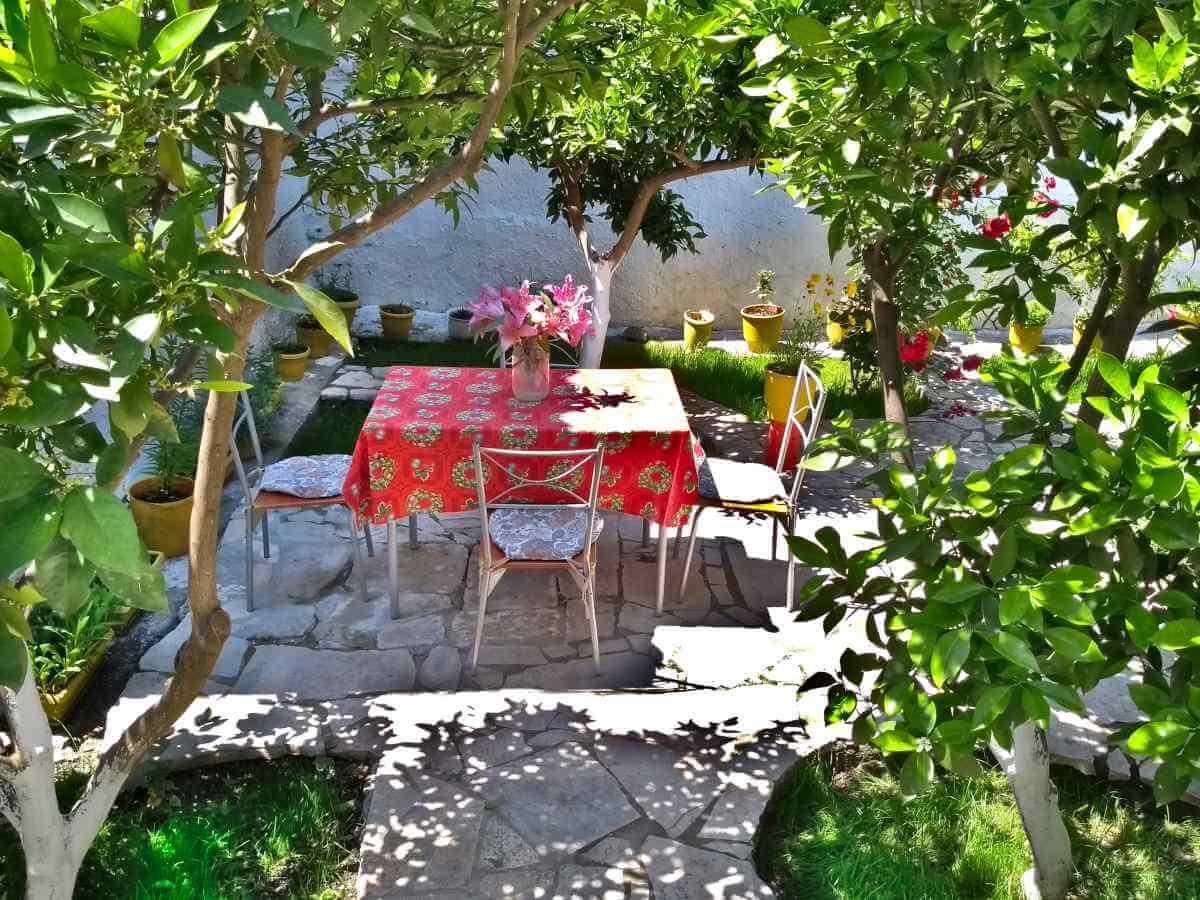 Gartentisch unter grünen Sträuchern.