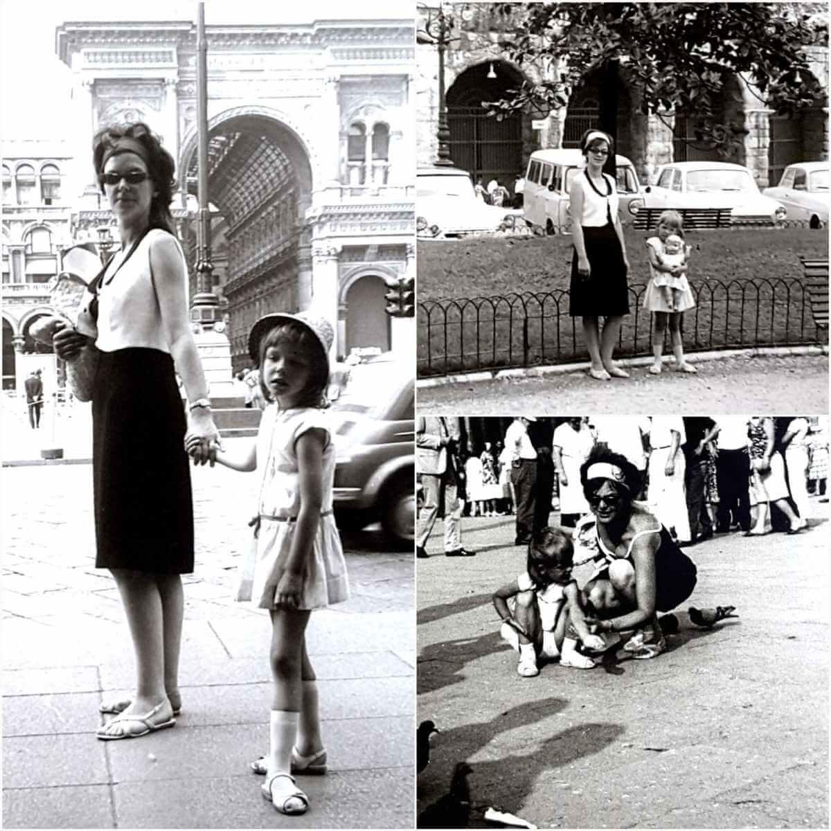 Collage drei Bilder: Mutter und Tochter in Schwarzweiß in verschiedenen Städten.