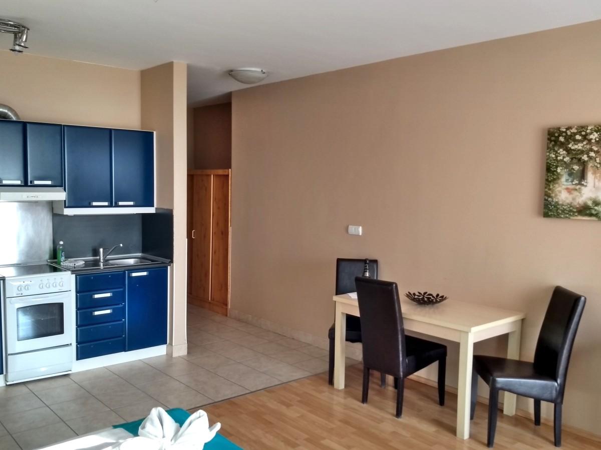 Appartment mit Küche und Essplatz.