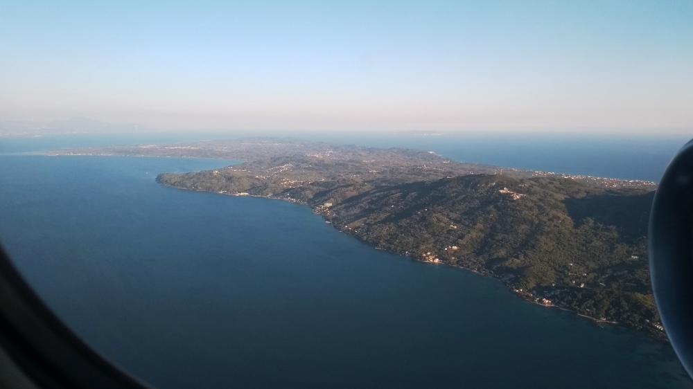 Luftbild auf die Insel Korfu.