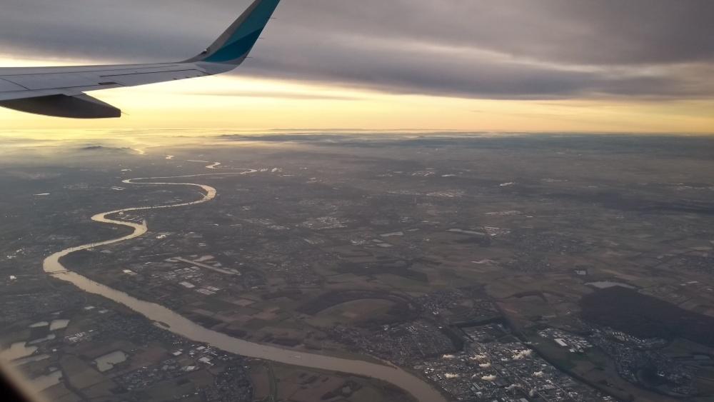 Luftaufnahme von der Donau in Budapest.