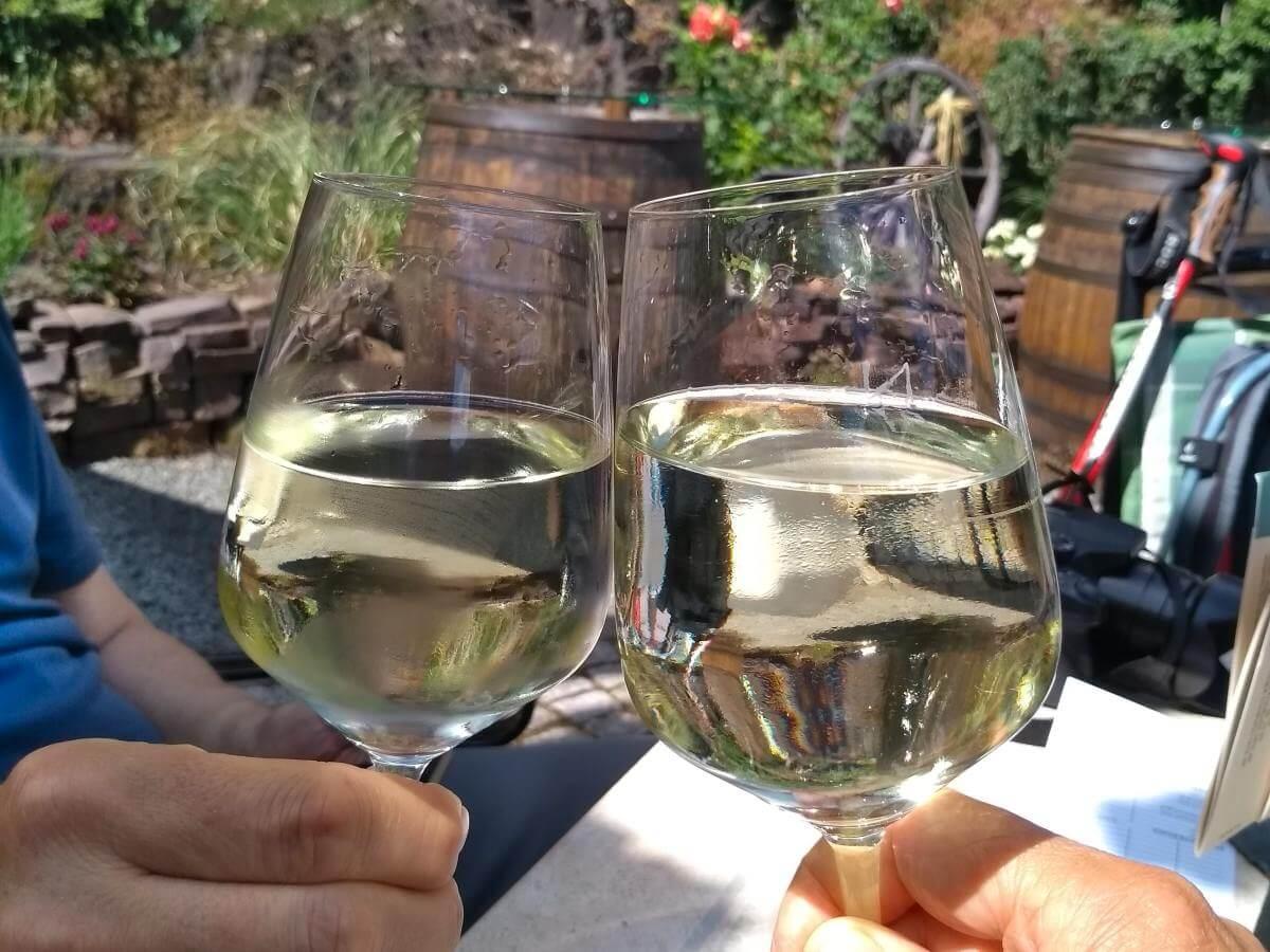 Anstoßen mit zwei Gläsern Weißweinschorle.