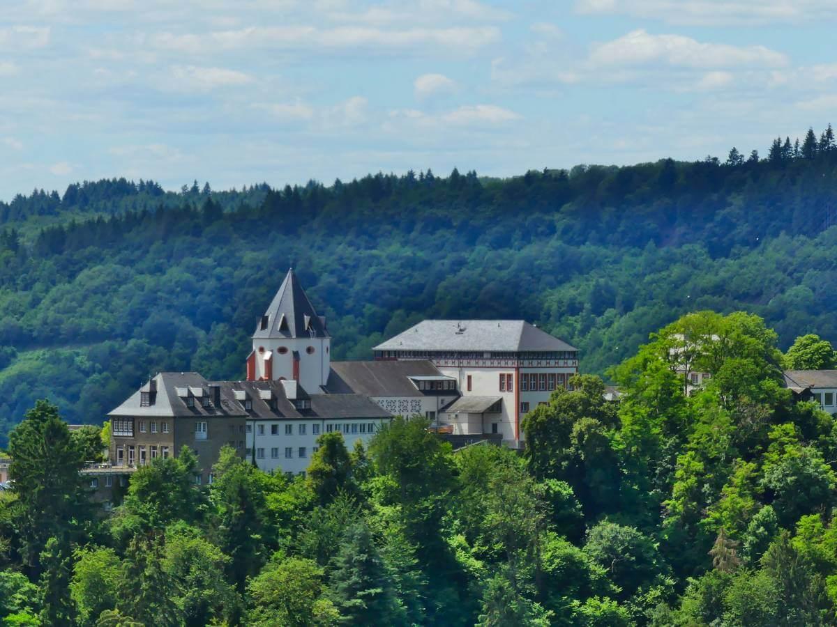 Weiße Burg im grünen Wald auf dem anderen Ufer der Mosel.