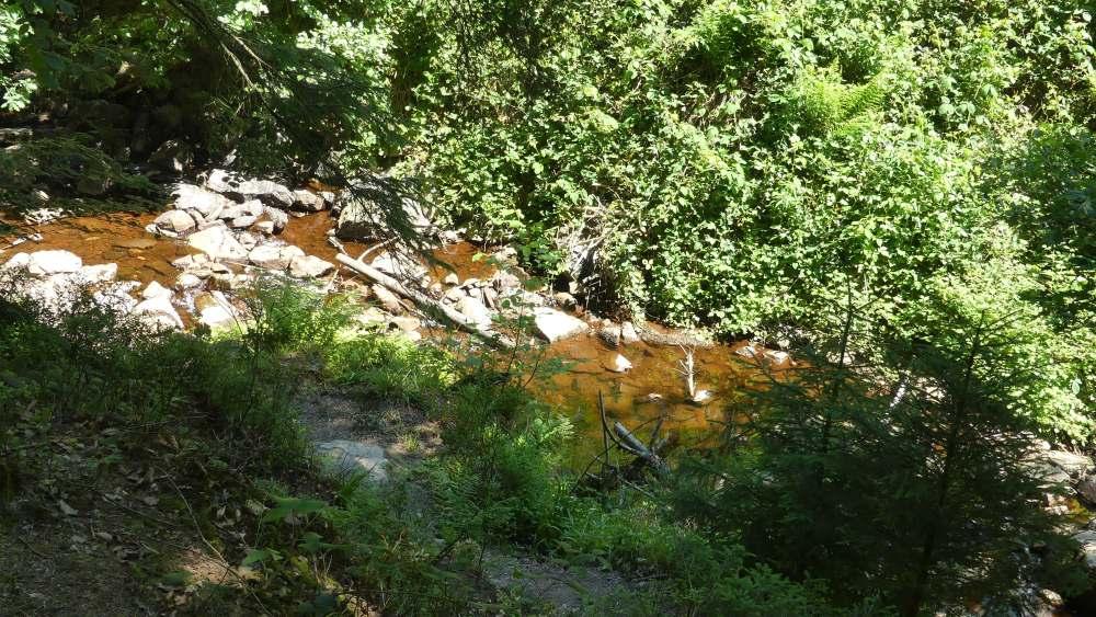 Bach mit rostrotem Wasser fließt im Talgrund.