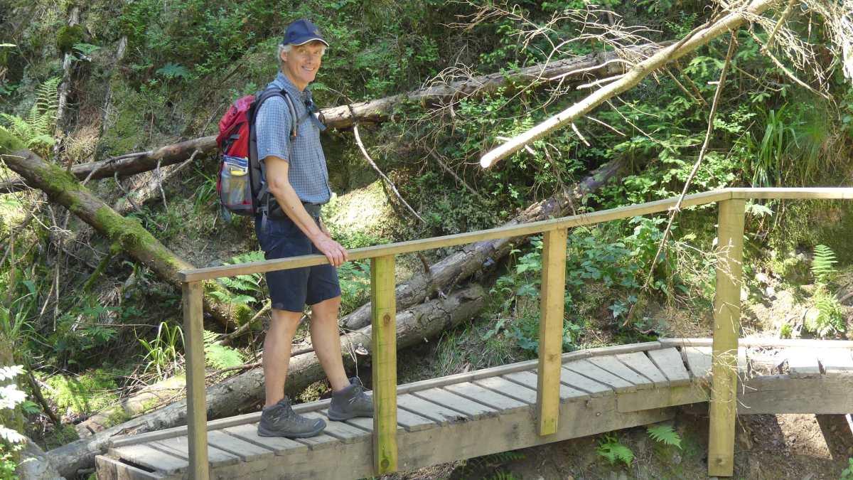 Marcus auf einem Holzsteg im Wald.