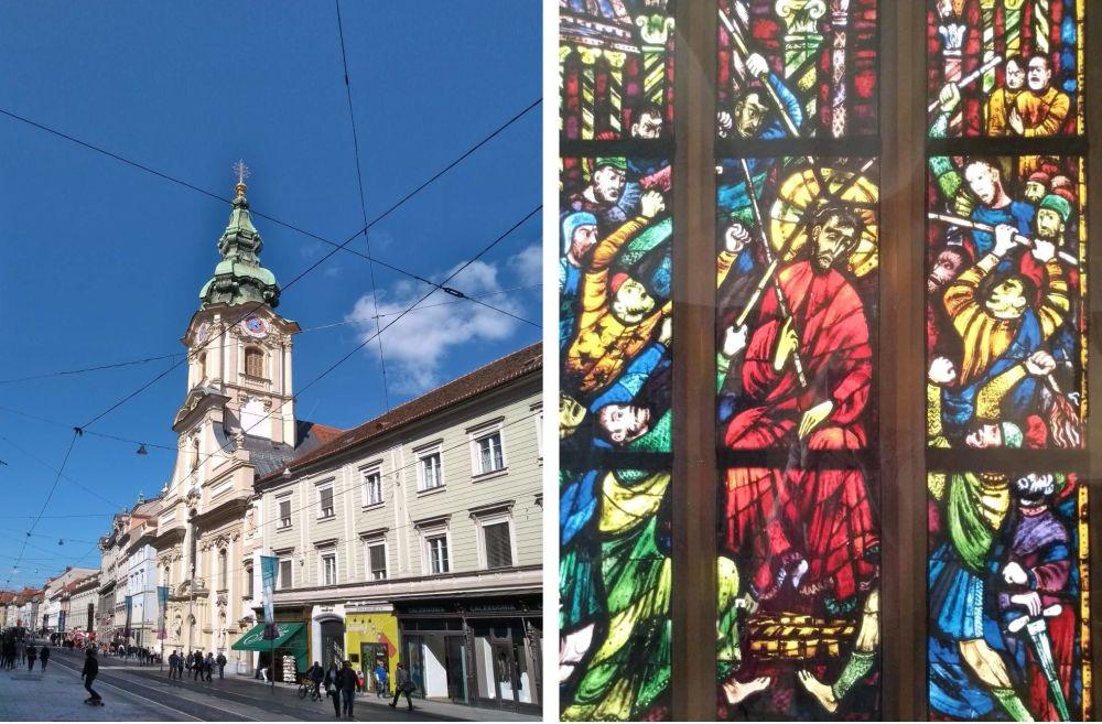Ansicht der Stadtpfarrkirche und des Kirchenfensters.