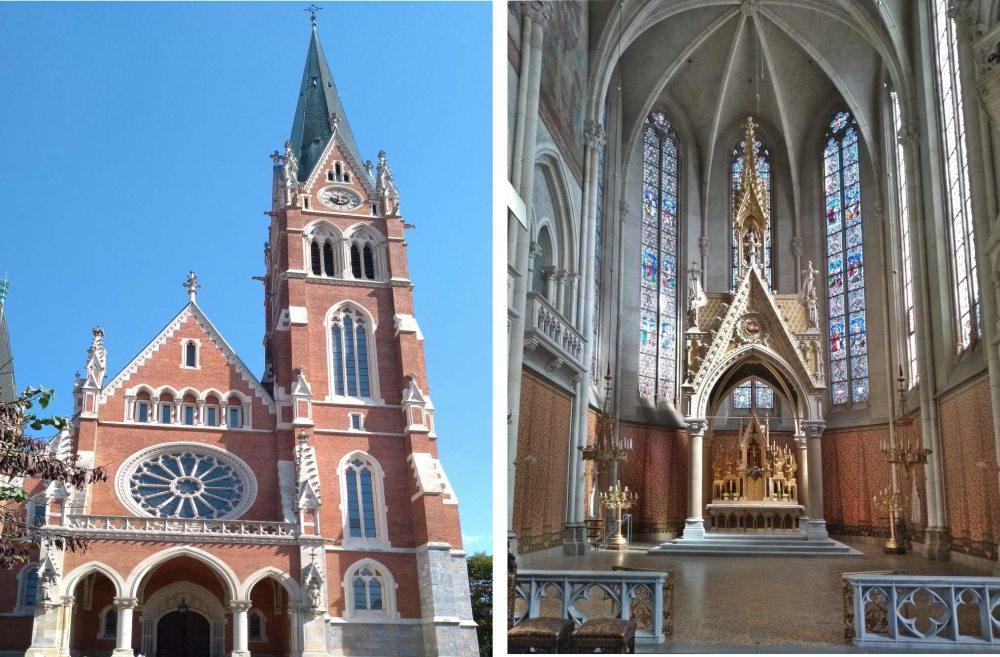 Rot-Weiße Kirche in Backsteingotik und Blick in den Chor.