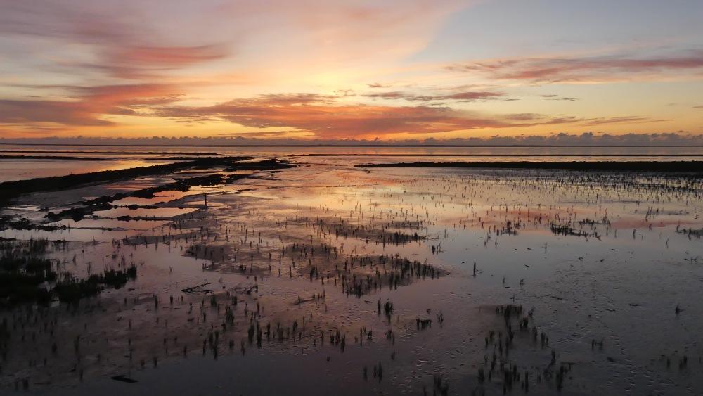 Sonnenuntergang über dem Wattenmeer.