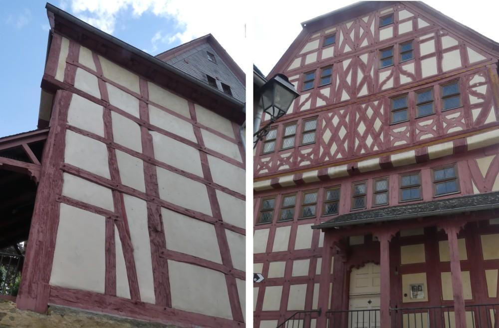 Zwei Ansichten vom Fachwerkhaus.