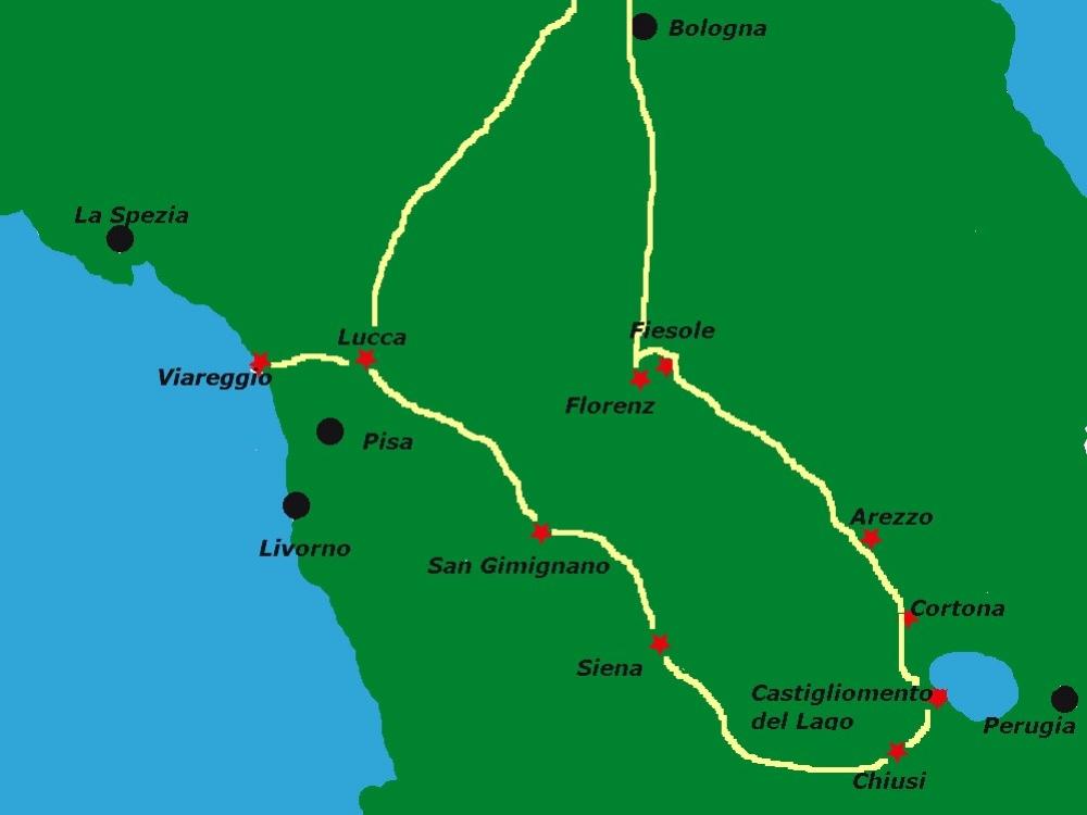 Karte der Toskana mit Route der Rundreise.