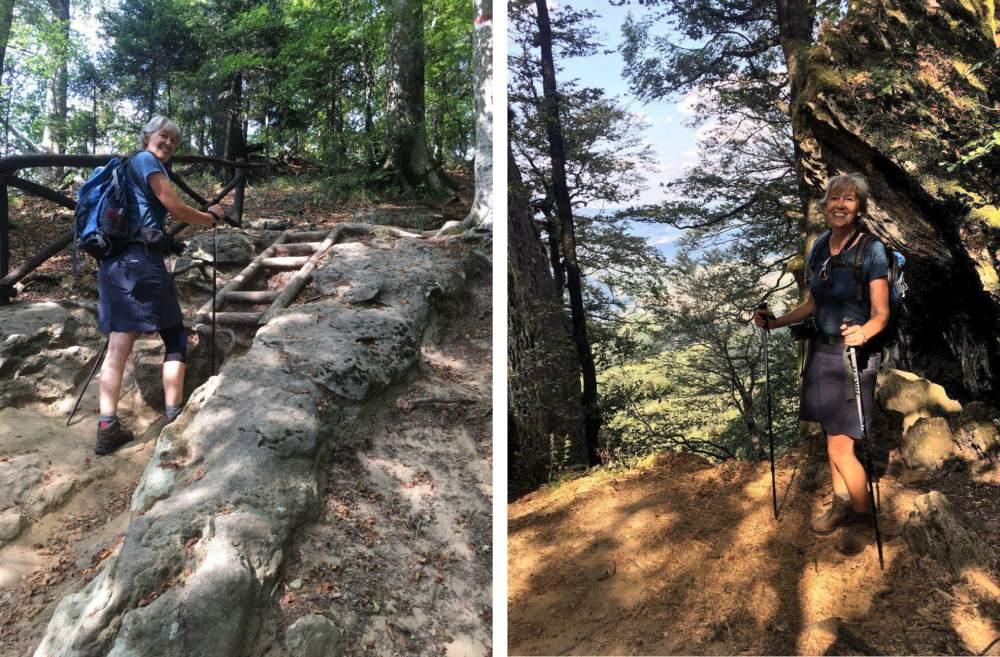 Zwei Bilder zeigen Gina mit Wanderstöcken im Wald.