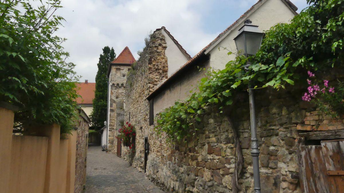 Gasse entlang der Stadtmauer in Freinsheim.