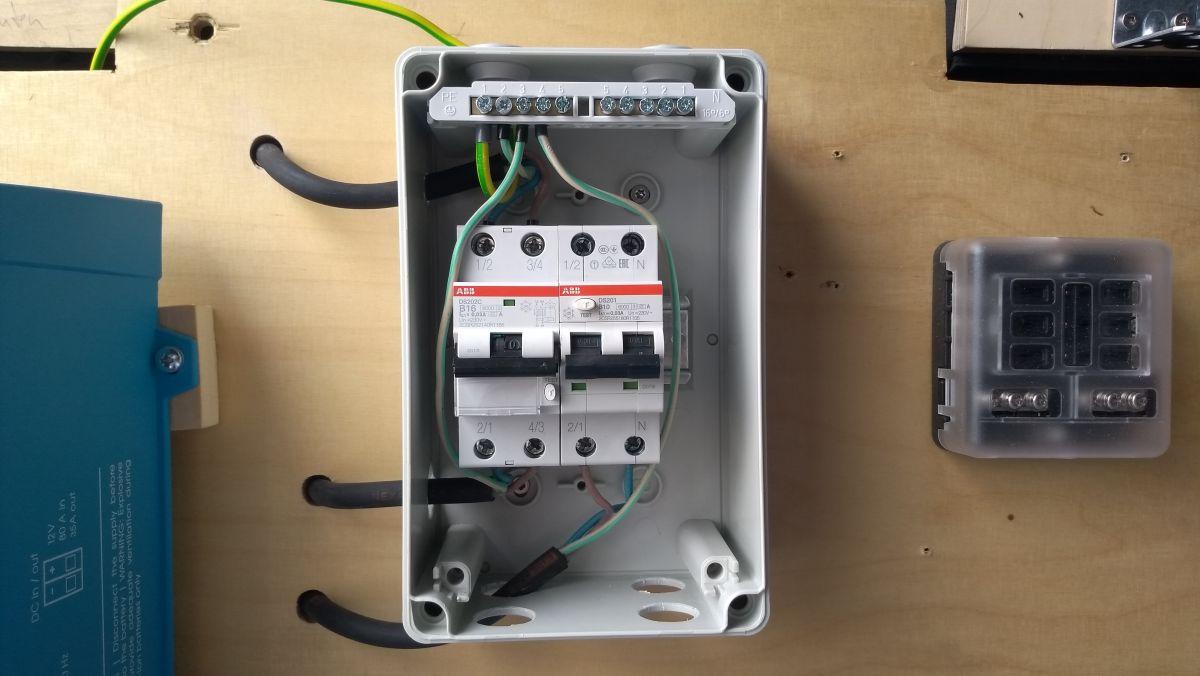 Sicherungskasten mit FI/LS-Schaltern.