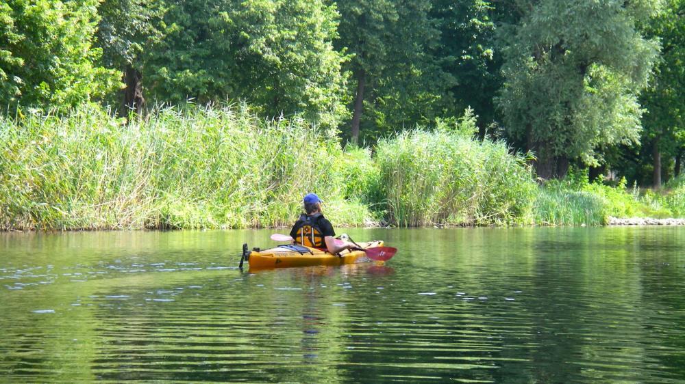 Paddler auf grünem Kanal auf der Havel.