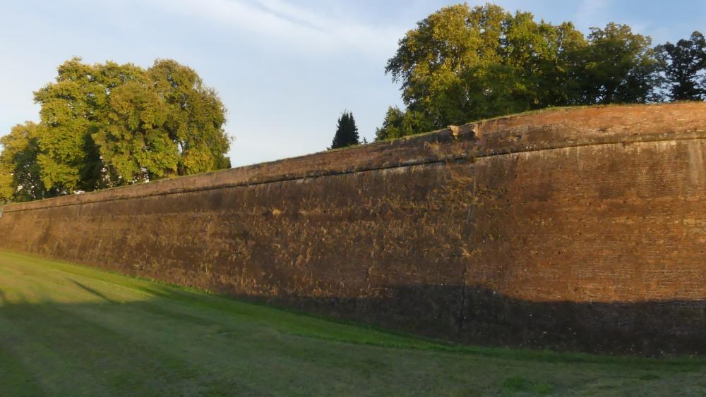 Stadtmauer von Lucca im Abendlicht.