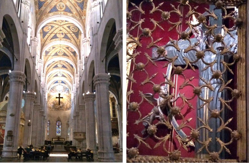 Rechts Kirchenschiff mit Gewölbedecke, links Blick durch das Gitter aufs volto Santo.